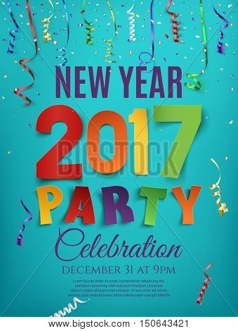 New Year 2017 party poster template with confetti and colorful ribbons on blue background. Vector illustration.