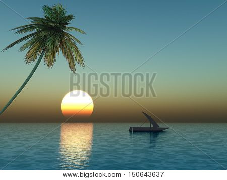 Small boat at sunset sea - 3D rendering