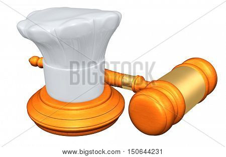 Chef Legal Gavel Concept 3D Illustration