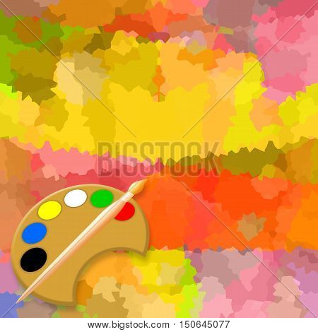Painting background with paint brush and palette