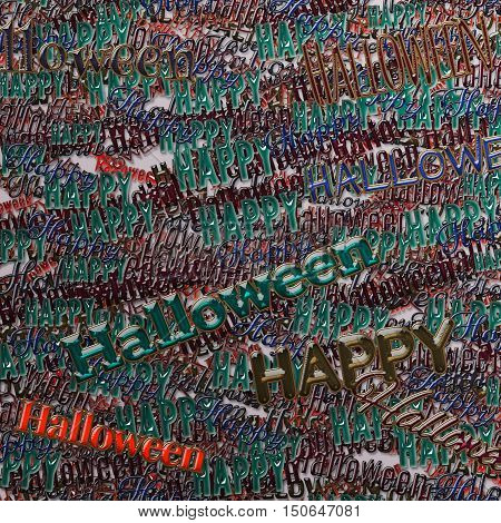 Happy Halloween phrase. Multilayer Pattern with multicolored words. 3d illustration with texture of golden metal and colored glass. Art background. Ornament for print wrapping paper. Design template.