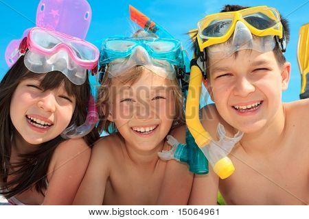 Happy snorkel children
