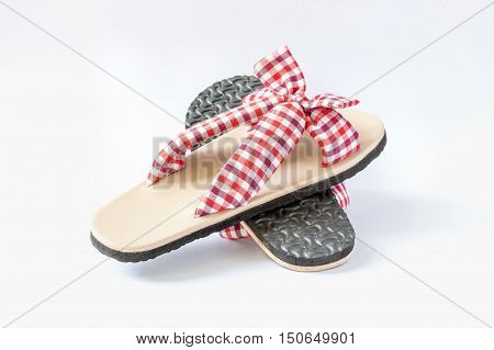 Plaid sandal on the white background.Casual shoes are worn at home or at work.
