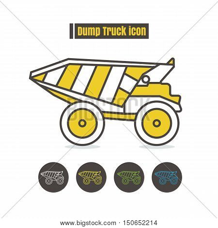vector Dumper truck icon color on white background