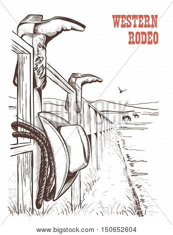 American Ranch landscape with cowboy clothes on fence. Vector hand draw poster