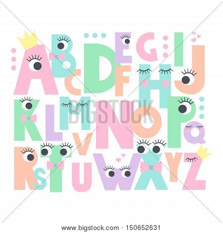 Alphabet with eyes and lashes on white background. Cute abc design for book cover, poster, card, print on baby's clothes, pillow etc. Pastel colors letters composition.
