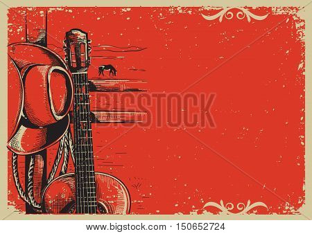 Country Music Poster With Cowboy Hat And Guitar On Vintage Poster