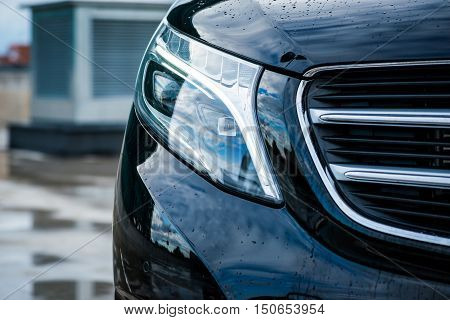 Headlights Of A Luxury Passenger Car