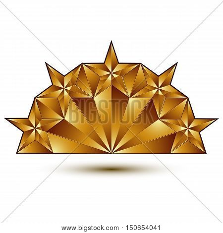 Glamorous vector template with pentagonal golden star symbol best for use in web and graphic design. Conceptual 3d heraldic icon