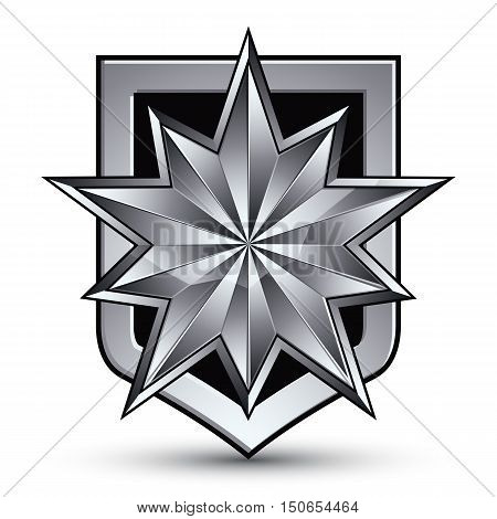 Vector glorious glossy design element with luxury 3d silver star silvery conceptual graphic template