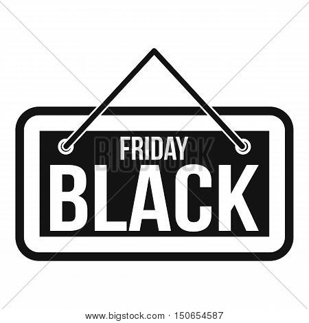Black Friday signboard icon in simple style on a white background vector illustration
