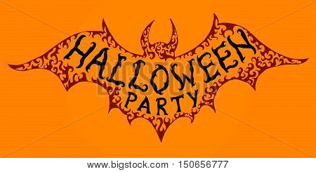 Halloween banner. Creative inscription on bat silhouette for Halloween invitation flyer postcard.