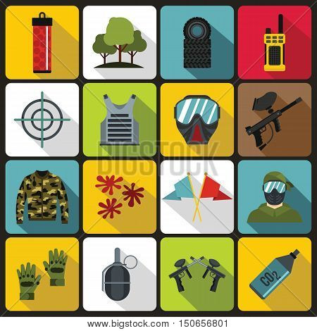 Paintball icons set in flat style. Airsoft equipment set collection vector illustration