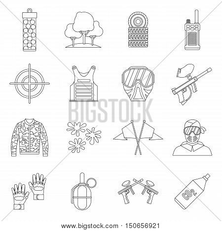 Paintball icons set in outline style. Airsoft equipment set collection vector illustration