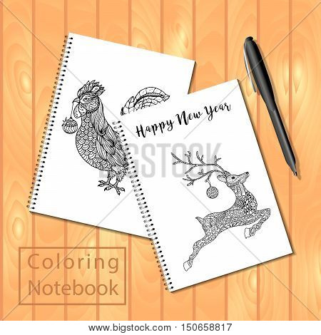 Spiral Bound Notepads Or Coloring Book With Pen And Pictures, Rooster, Jumping Deep.