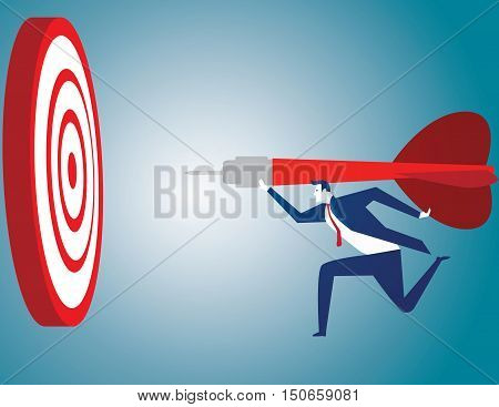 Success hitting target as a business assistance concept with the help of a guide as a symbol for goal achievement management and aim to hit the bull's eye as a dart assured to go straight to center.
