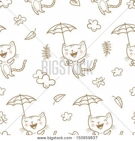 Seamless pattern with cute cartoon cats under an umbrella on white  background. Flying kittens. Autumn season. Windy weather and falling leaves. Funny animals. Vector image. Children's illustration.