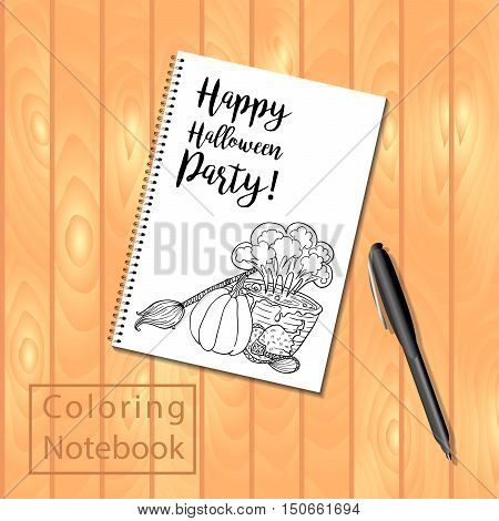 Spiral bound notepad or coloring book with Halloween coloring page picture. Vector template or mock up. Easy to place your image on the cover.Top view.