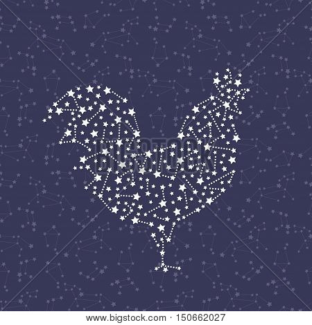 Rooster - Happy new year 2017 symbol on night sky background. Year Of The Rooster. Vector Illustration rooster with astrological constellation on dark blue background.