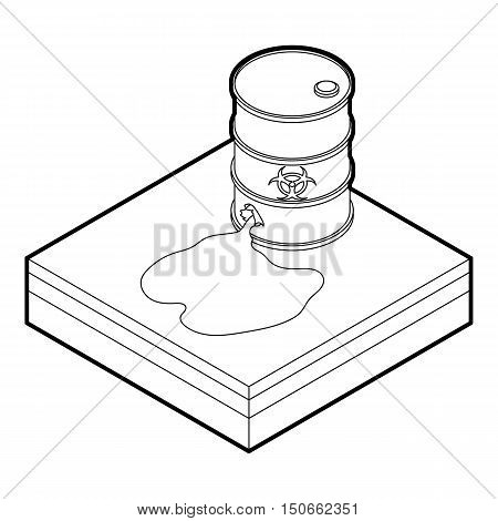 Toxic waste spilling from barrel icon in outline style on a white background vector illustration