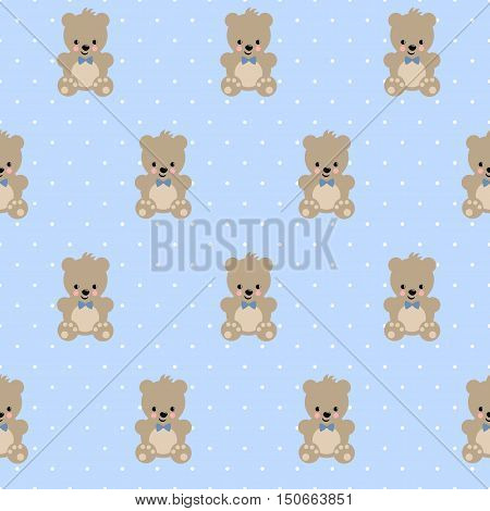 Teddy Bear seamless pattern on baby blue polka dots background. Cute vector with baby bear. Design for print on baby's clothes, textile, baby shower, wallpaper, fabric.