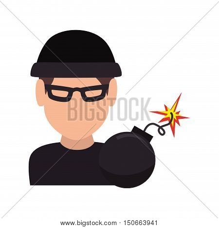 avatar man thief wearing black clothes and  bomb icon. vector illustration