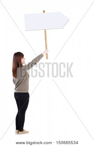 Back view woman showing sign board. man holds information plate. Rear view people collection. backside view of person. Isolated over white background. girl in a gray sweater holds a large poster