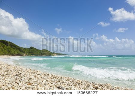 Pebble beach at Gros Sable bay, Guadeloupe, French Antilles