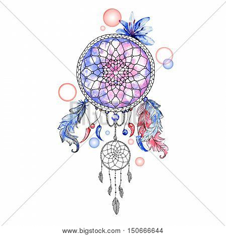 Indian Dream catcher, colorful digital ethnic element. Vector isolated object