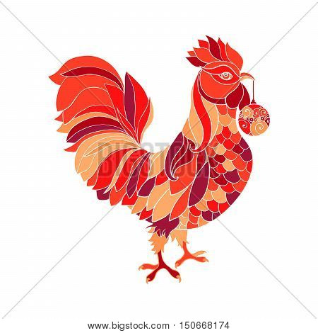 Rooster Colorful Red Fill Silhouette. Cock Animal. Vector Colored Element For New Year's Or Merry Ch