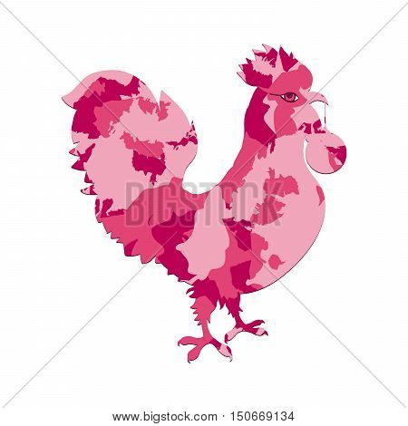 Rooster Silhouette With Pink Camo Or Camouflage Fill. Cock, Decorated With Spot Pattern. Vector Colo