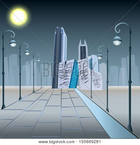 Modern City Megalopolis View Skyscraper Cityscape Vector Illustration. Business center  in the night.