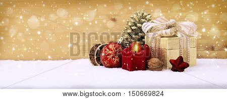 Christmas background with red advent candle. Christmas decoration.