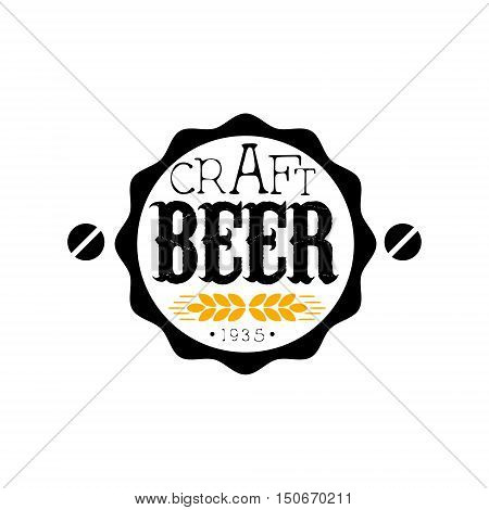 Craft Beer Round Logo Design Template. Black And Yellow Vector Label With Text And Establishment Date For Brewery Promotion.
