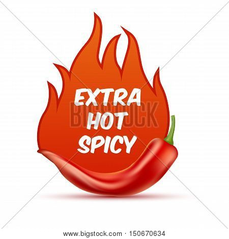 Extra Hot And Spicy Chili Paper Poster, Badge Or Banner Template With Fire, Isolated On White Backgr
