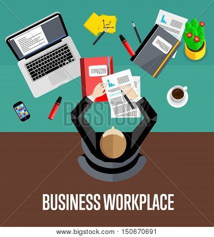 Top view business workplace, vector illustration. Overhead view of businessman working with financial documents at office desk. Business people background. Workspace banner in flat style.