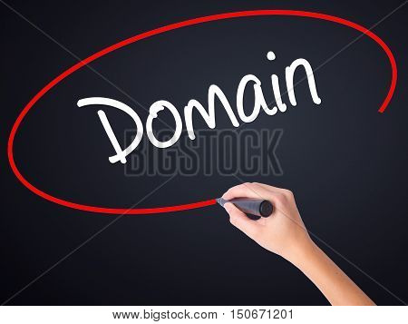 Woman Hand Writing Domain With A Marker Over Transparent Board