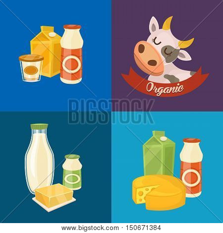 Assortment of different dairy products isolated vector illustration. Organic logo with cartoon cow. Organic farmers food. Organic food and dairy product concept. Milk product icon. Cartoon dairy product. Dairy icon.