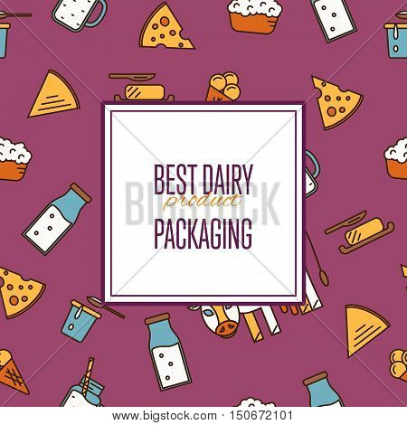 Best dairy product seamless pattern for packaging with different dairy icons in line style design, vector illustration. Organic farmers food. Organic food and dairy product concept. Milk product icon. Cartoon dairy product. Dairy icon.