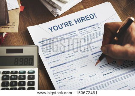 You're Hired Recruitment Job Staff Concept