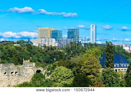 The skyline  Luxembourg city with the buildings of European Court of Justice