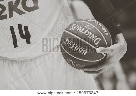 VALENCIA, SPAIN - OCTOBER 6th: Official League ball during spanish league match between Valencia Basket and Real Madrid at Fonteta Stadium on October 6, 2016 in Valencia, Spain