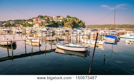 Rab Croatia - August 5 2015: View of the marina located near the hamlet called Palit.