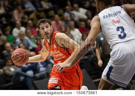 VALENCIA, SPAIN - OCTOBER 6th: Vives with ball during spanish league match between Valencia Basket and Real Madrid at Fonteta Stadium on October 6, 2016 in Valencia, Spain