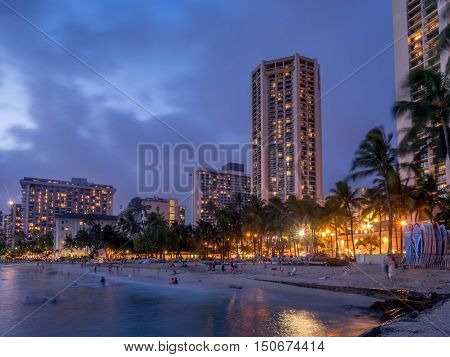 HONOLULU, USA - AUG 8:  Waikiki beach in Honolulu on August 8, 2016 in Honolulu, Usa. Waikiki beach is neighborhood of Honolulu, best known for white sand and surfing.