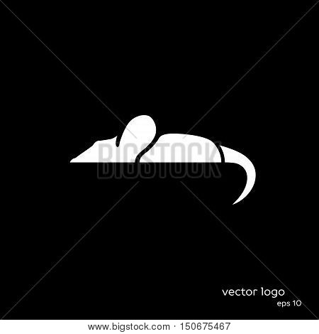 Vector Illustration Of Mouse On Black Background.