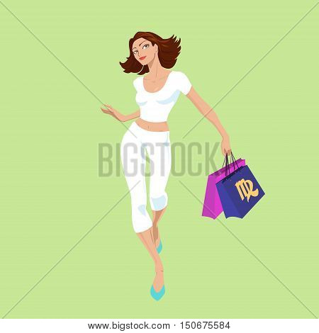 Virgo. A zodiac sign - the Virgo. Shopaholic. The beautiful dynamic girl in white. Shopping. Vector.