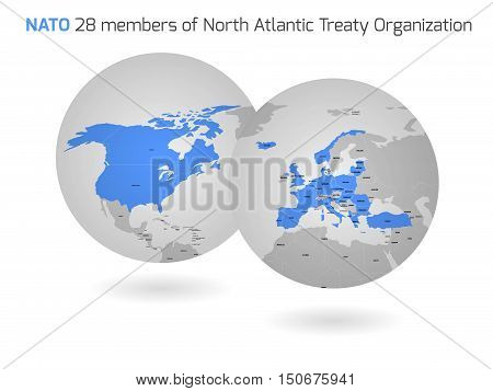 NATO member countries marked by blue in two globe maps.