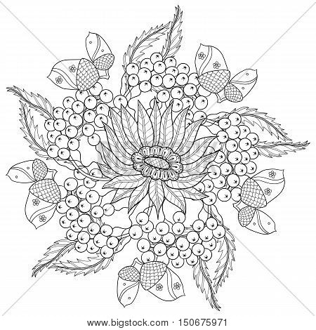 Vector autumn patterned background with oak leaves, sunflower, Rowan berries for adult coloring pages. Hand drawn artistic monochrome illustration in ethnic, zentangle style. Doodle design. A4 size.