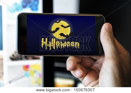 Halloween Bat Pumpkin Lantern Scary Graphic Concept